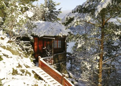 The Log Cabin by the Sea Winter Time